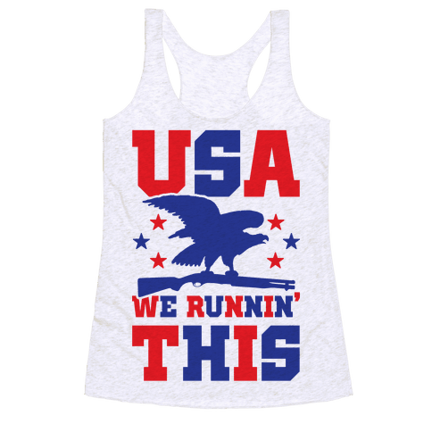 USA We Runnin' This Racerback Tank Top