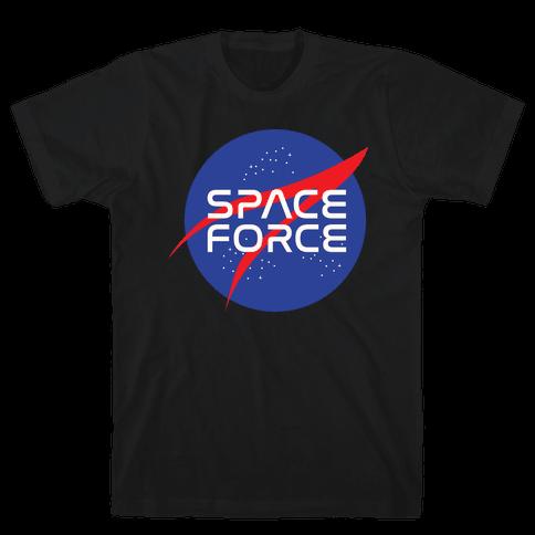 Space Force Parody White Print Mens T-Shirt