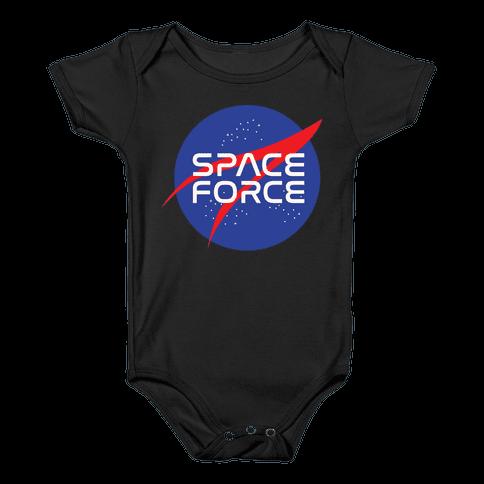 Space Force Parody White Print Baby Onesy