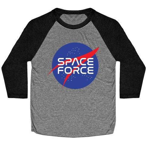 Space Force Parody White Print Baseball Tee