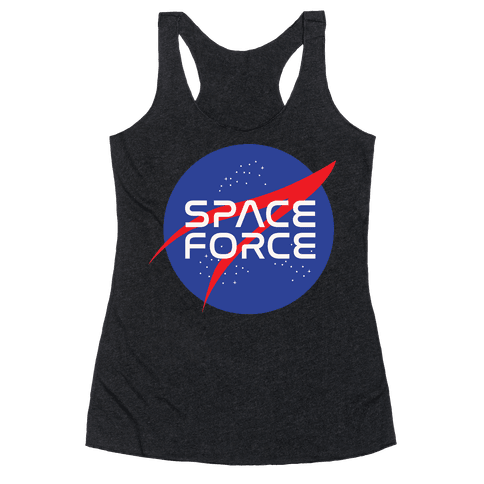 Space Force Parody White Print Racerback Tank Top