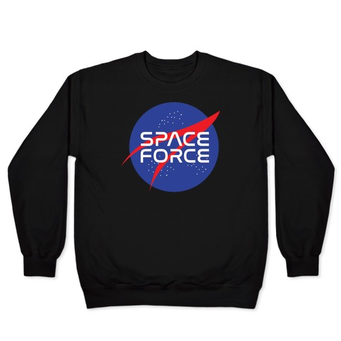 Space Force Parody White Print Pullover