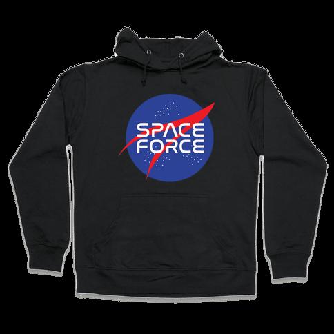 Space Force Parody White Print Hooded Sweatshirt