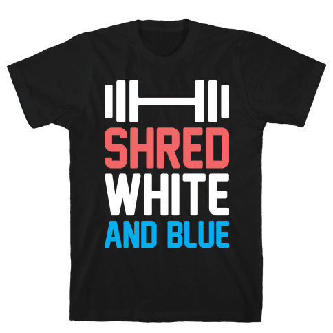 Shred White And Blue Mens T-Shirt
