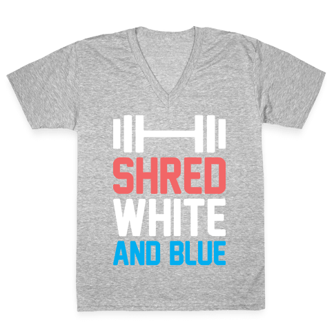 Shred White And Blue V-Neck Tee Shirt