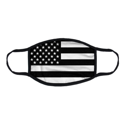 Black and White American Flag Flat Face Mask