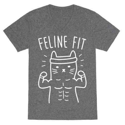 Feline Fit (White) V-Neck Tee Shirt