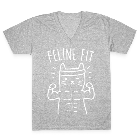 Feline Fit (White) V-Neck Tee Shirt