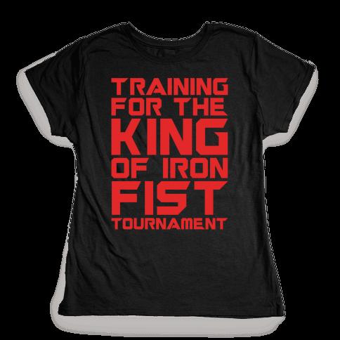 Training For The King of Iron Fist Tournament Parody White Print Womens T-Shirt