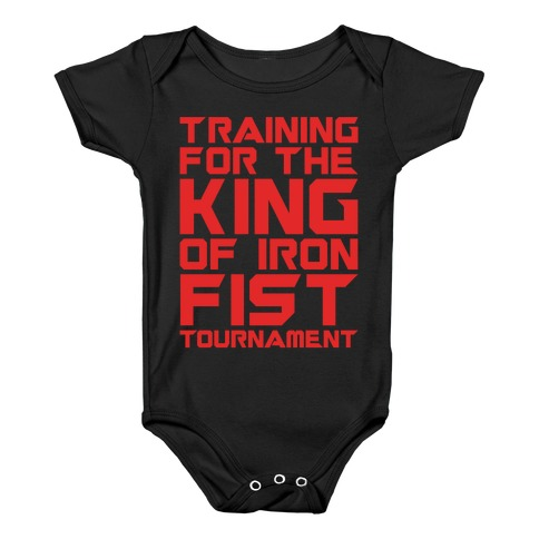 Training For The King of Iron Fist Tournament Parody White Print Baby Onesy