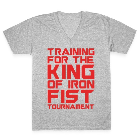 Training For The King of Iron Fist Tournament Parody White Print V-Neck Tee Shirt