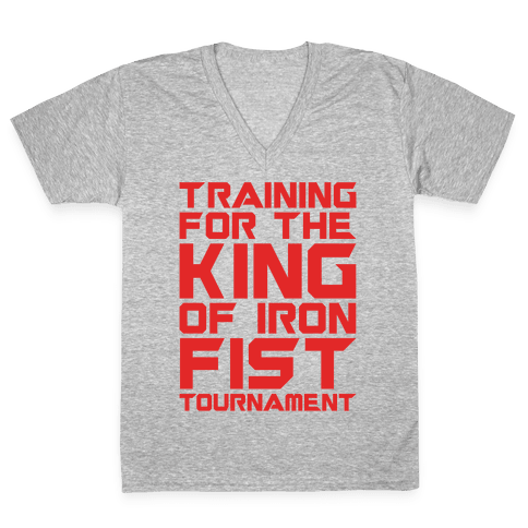 Training For The King of Iron Fist Tournament Parody White Print V-Neck Tee Shirt