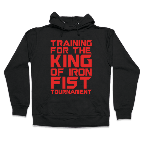 Training For The King of Iron Fist Tournament Parody White Print Hooded Sweatshirt