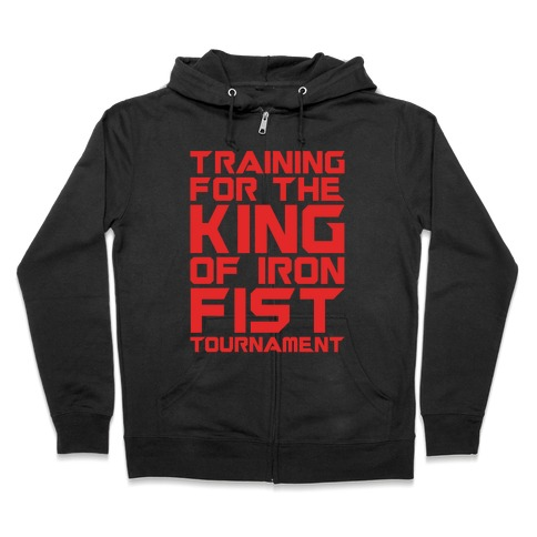 Training For The King of Iron Fist Tournament Parody White Print Zip Hoodie