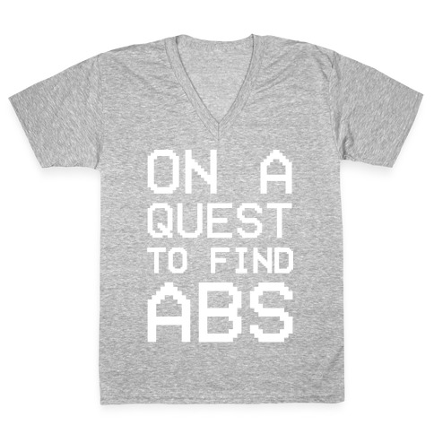 On A Quest To Find Abs White Print V-Neck Tee Shirt
