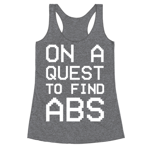 On A Quest To Find Abs White Print Racerback Tank Top