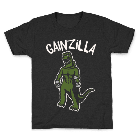 Gainzilla Lifting Parody White Print Kids T-Shirt