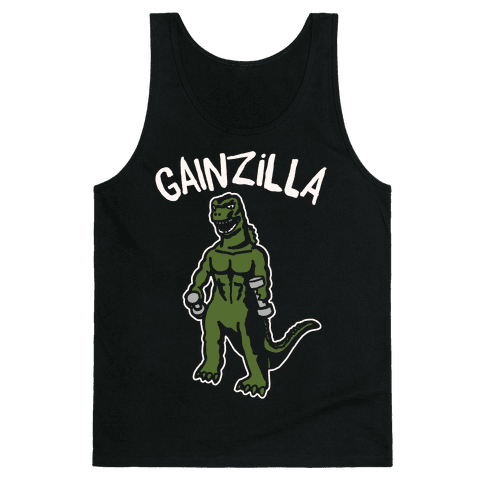 Gainzilla Lifting Parody White Print Tank Top