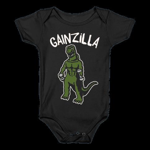 Gainzilla Lifting Parody White Print Baby Onesy