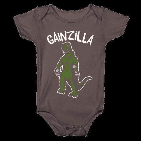 Gainzilla Lifting Parody White Print Baby One-Piece