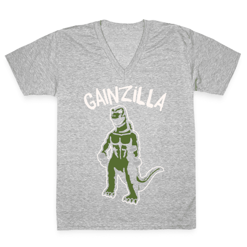 Gainzilla Lifting Parody White Print V-Neck Tee Shirt