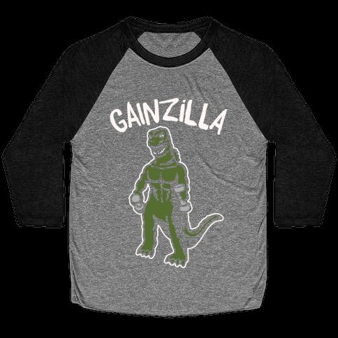 Gainzilla Lifting Parody White Print Baseball Tee