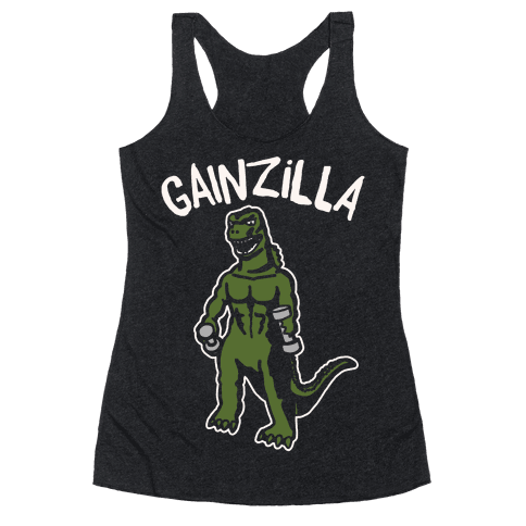 Gainzilla Lifting Parody White Print Racerback Tank Top