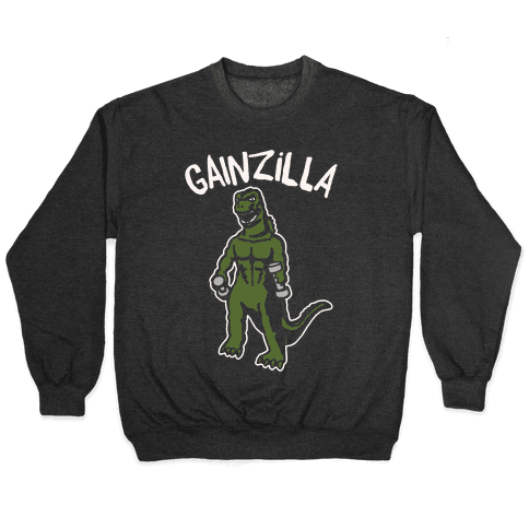 Gainzilla Lifting Parody White Print Pullover