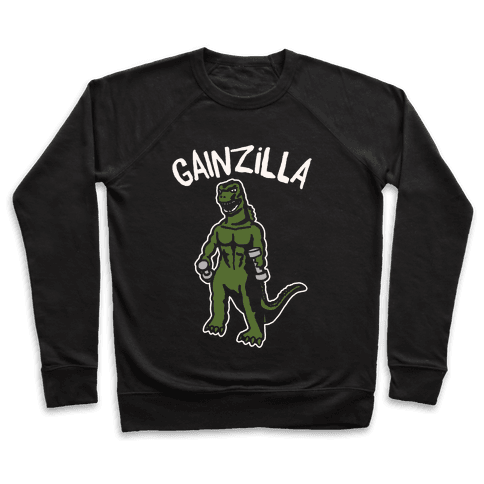 Gainzilla Lifting Parody White Print Pullover