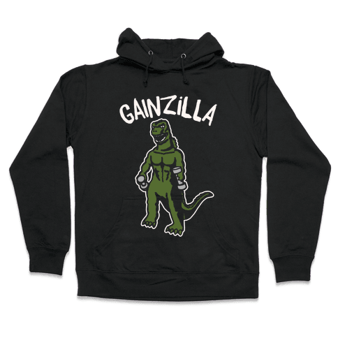 Gainzilla Lifting Parody White Print Hooded Sweatshirt