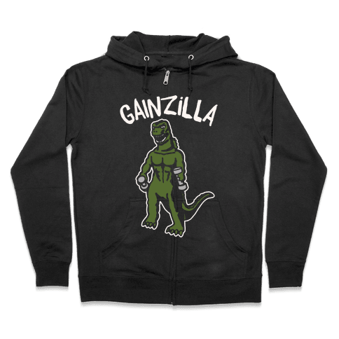 Gainzilla Lifting Parody White Print Zip Hoodie