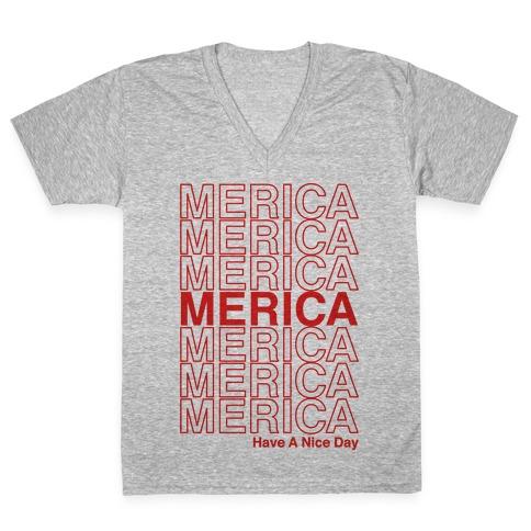 Merica Merica Merica Thank You Have a Nice Day V-Neck Tee Shirt