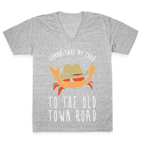 Gonna Take My Crab To The Old Town Road Parody White Print V-Neck Tee Shirt