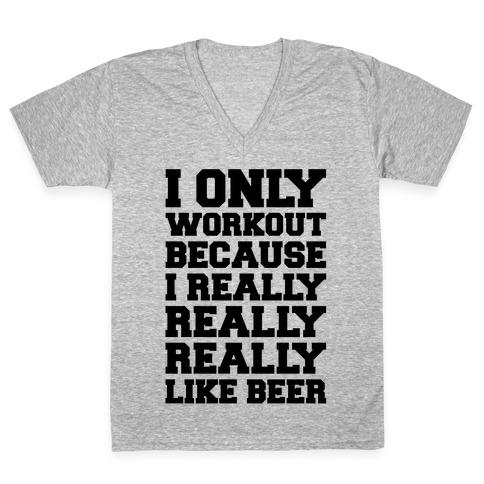 Beer Workout V-Neck Tee Shirt