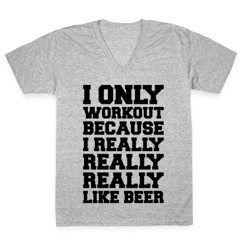 Beer Workout V-Neck Tee Shirt
