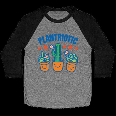 Plantriotic White Print Baseball Tee