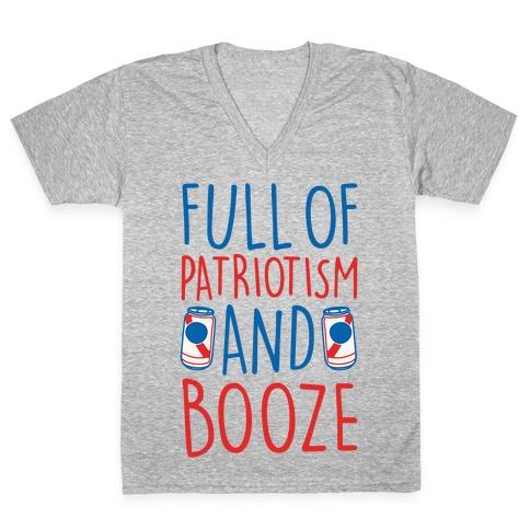 Full of Patriotism and Booze White Print V-Neck Tee Shirt