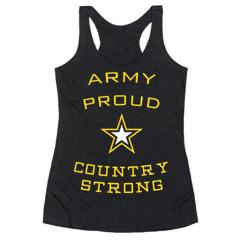 Army Proud Country Strong Racerback Tank Top