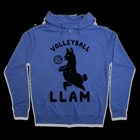 Volleyball Llam Zip Hoodie