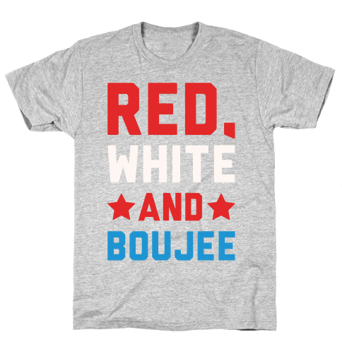 Red White And Boujee White Print Mens T-Shirt