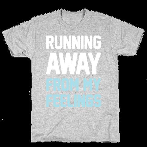 Running Away From My Feelings (White) Mens T-Shirt