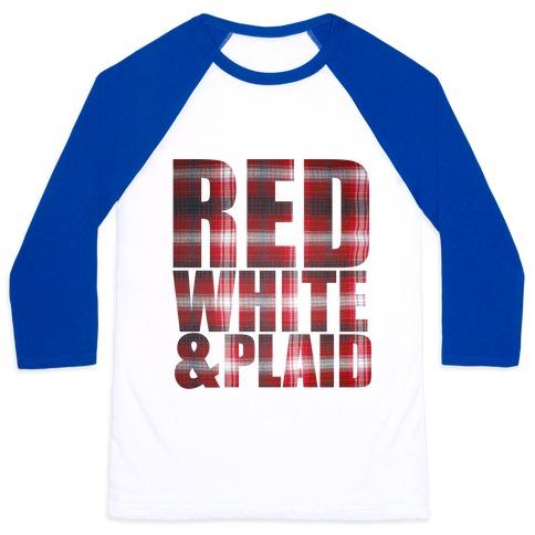 Red White and Plaid Baseball Tee