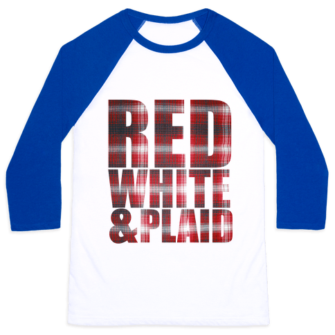 Red White and Plaid Baseball Tee