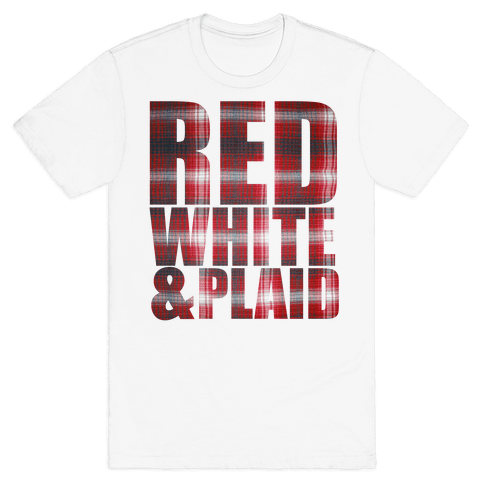 Red White and Plaid Mens T-Shirt