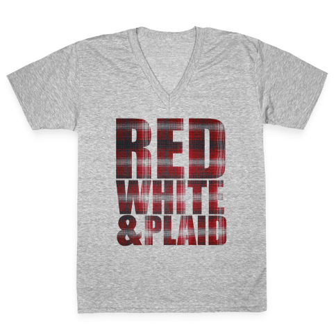 Red White and Plaid V-Neck Tee Shirt