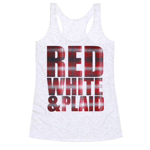 Red White and Plaid Racerback Tank Top