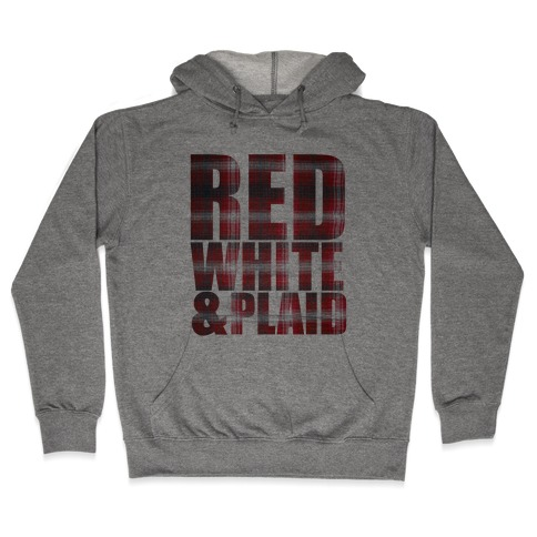 Red White and Plaid Hooded Sweatshirt