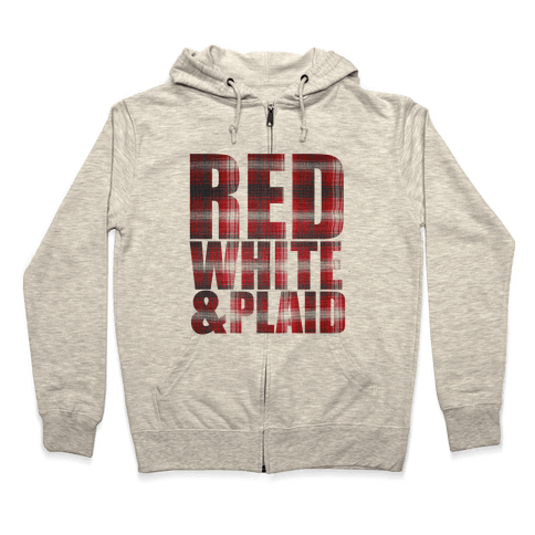 Red White and Plaid Zip Hoodie