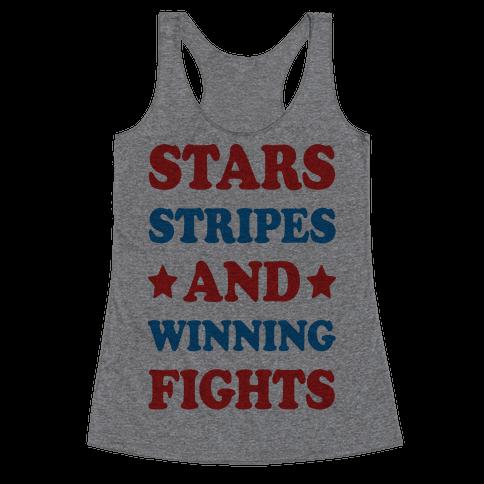 Stars Stripes And Winning Fights Racerback Tank Top