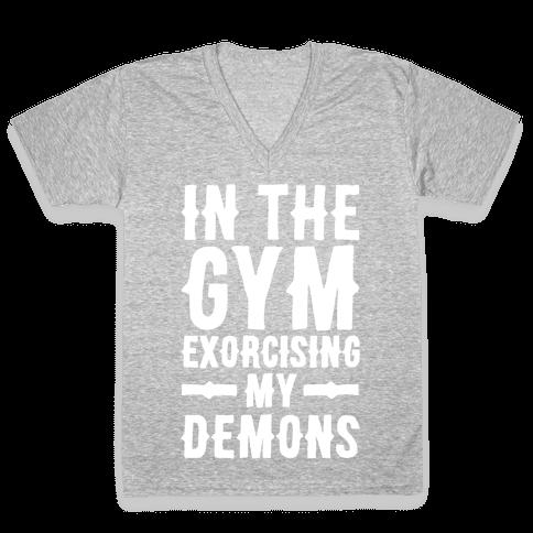 In The Gym Exorcising My Demons White Print V-Neck Tee Shirt
